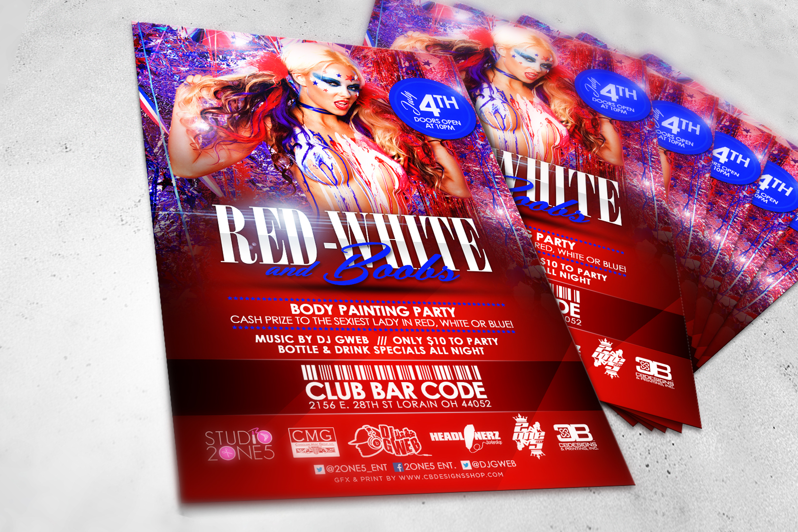 Red White and Boobs promotional flyer