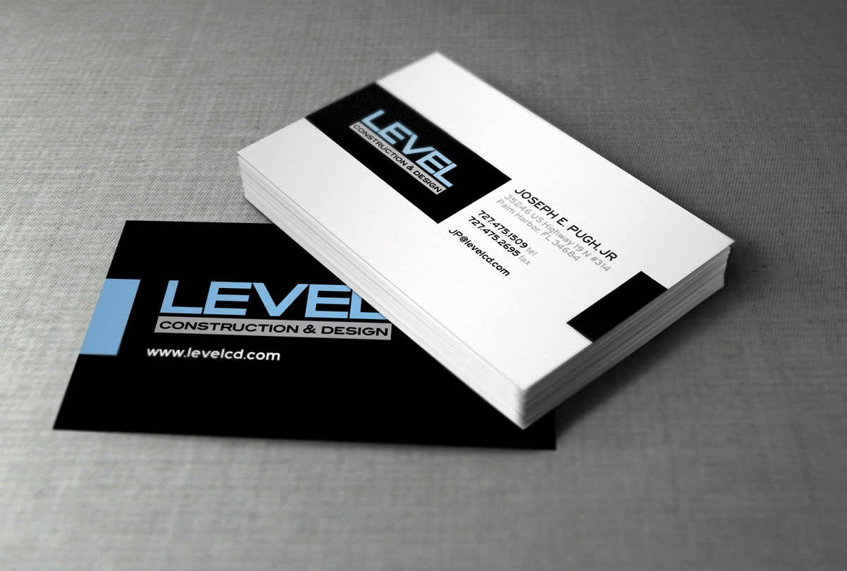 Level Construction | Business Card Printing - DESIGN NINJAZ