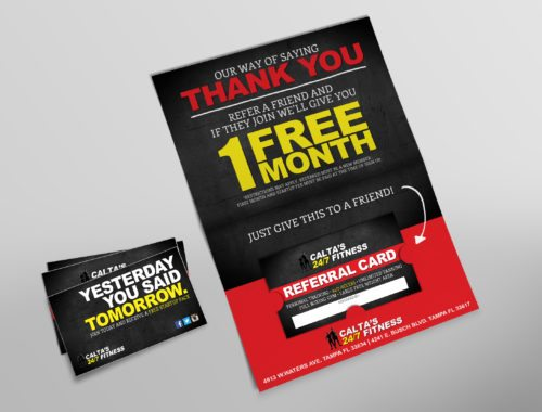 Calta's 24/7 Fitness Thank you & referral card Design & Printing Mailer