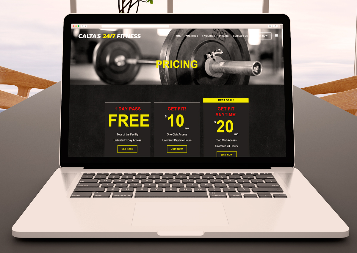 Calta's 24/7 Fitness Pricing Website Design