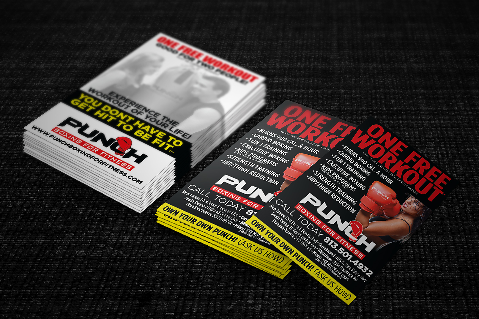 Punch Boxing for Fitness Passes & Business Cards Design