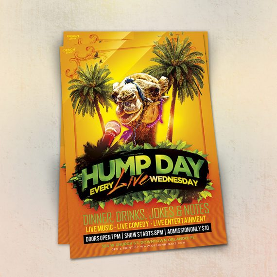 Hump Day Live Music Comedy Entertainment Flyer Design Orlando Florida