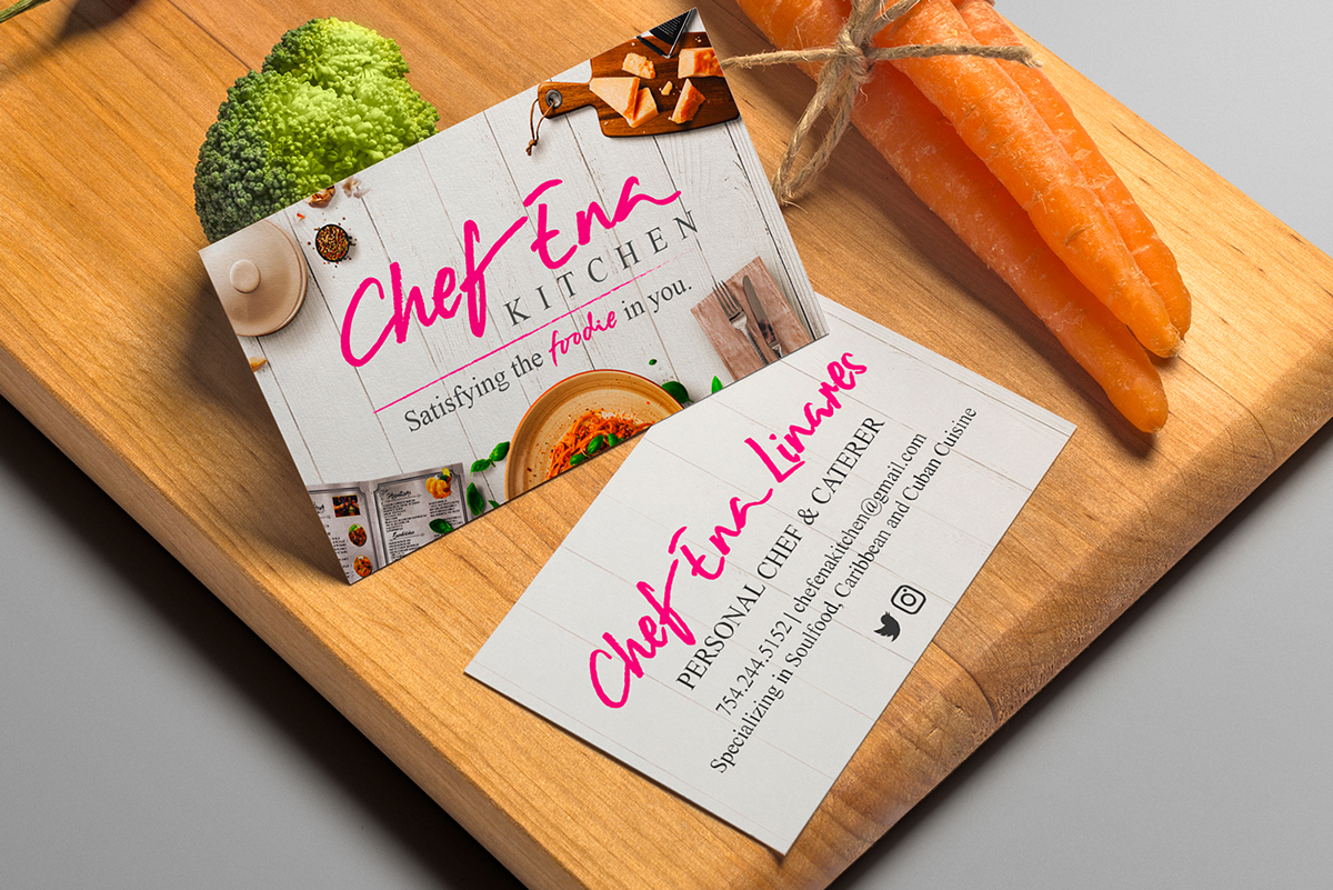 Chef ena kitchen personal chef caterer brand collateral design chef ena kitchen brand collateral chef ena kitchen brand collateral business cards colourmoves