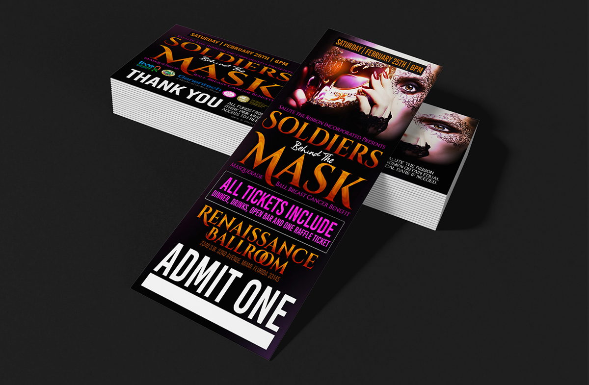 Soldiers Behind The Mask Ticket Design & Print Event Branding & Collateral