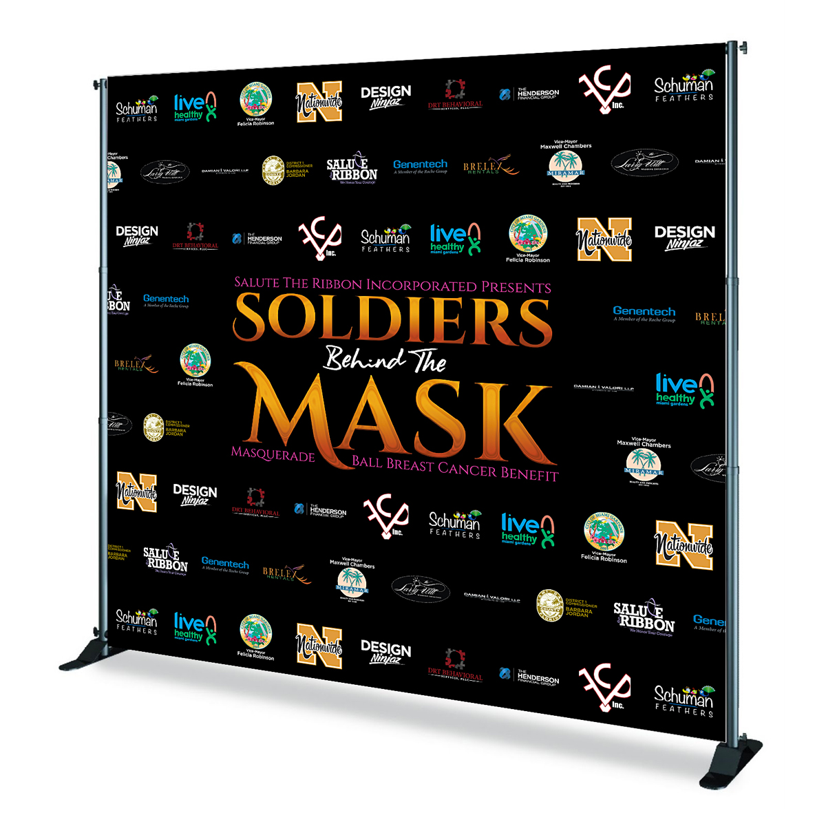 Soldiers Behind The Mask Backdrop Design & Print Event Branding & Collateral